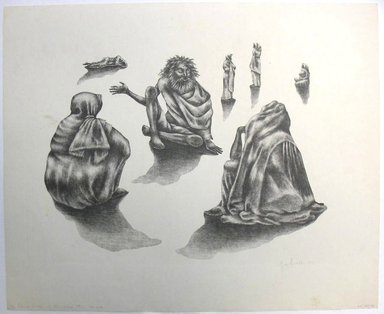 George Biddle (American, 1885-1973). <em>The Blind Singer of Ahmedabab</em>, 1959. Lithograph, 12 1/4 x 16 in. (31.1 x 40.6 cm). Brooklyn Museum, Gift of George Biddle, 67.185.76. © artist or artist's estate (Photo: Brooklyn Museum, CUR.67.185.76.jpg)