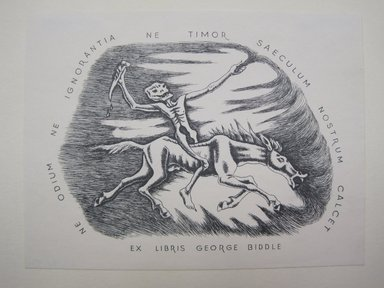 George Biddle (American, 1885-1973). <em>Exlibris - George Biddle</em>. Etching, book plate, Image: 4 5/8 x 6 1/8 in. (11.7 x 15.6 cm). Brooklyn Museum, Gift of George Biddle, 67.185.82. © artist or artist's estate (Photo: Brooklyn Museum, CUR.67.185.82.jpg)