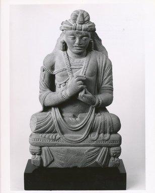 <em>Seated Bodhisattva</em>, 3rd-4th century. Schist, 17 1/2 x 9 1/2 in. (44.5 x 24.1 cm). Brooklyn Museum, Gift of Paul E. Manheim, 67.199.62. Creative Commons-BY (Photo: Brooklyn Museum, CUR.67.199.62_bw.jpg)