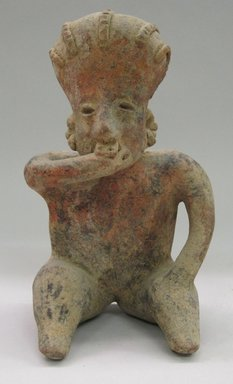 Nayarit. <em>Seated Figure</em>, ca. 300 B.C.E.-400 C.E. Ceramic, 8 9/16 x 5 x 4 1/2 in. (21.7 x 12.7 x 11.4 cm). Brooklyn Museum, Gift of Mr. and Mrs. Marvin Cassell, 67.206.16. Creative Commons-BY (Photo: Brooklyn Museum, CUR.67.206.16_front.jpg)