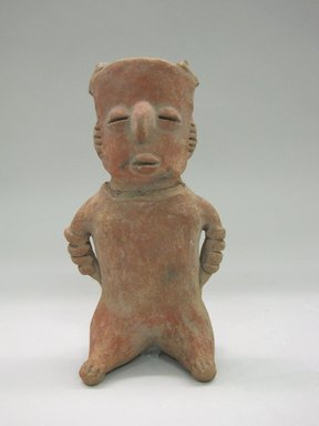 Nayarit. <em>Seated Figure</em>, ca. 300 B.C.E.-400 C.E. Ceramic, 8 x 4 1/4 x 2 3/4 in. (20.3 x 10.8 x 7 cm). Brooklyn Museum, Gift of Mr. and Mrs. Marvin Cassell, 67.206.19. Creative Commons-BY (Photo: Brooklyn Museum, CUR.67.206.19_front.jpg)