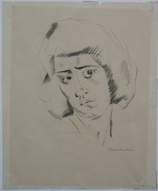 Kimon Nicholaides (American, 1892-1935). <em>Head of a Woman</em>, n.d. Graphite or charcoal on paper, Sheet: 9 9/16 x 7 7/8 in. (24.3 x 20 cm). Brooklyn Museum, Gift of Monroe Stein, 67.212 (Photo: Brooklyn Museum, CUR.67.212.jpg)