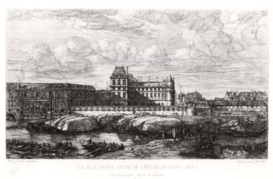 Charles Méryon (French, 1821-1868). <em>Vue de L'Ancien Louvre du Cote de la Seine</em>, 1866. Etching on wove paper, 6 1/2 x 10 1/2 in. (16.5 x 26.7 cm). Brooklyn Museum, Gift of Mrs. Harold J. Baily, 67.27.1 (Photo: Brooklyn Museum, CUR.67.27.1.jpg)
