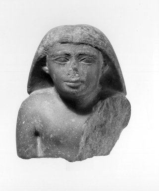 <em>Bust of a Man</em>, ca. 2338-2298 B.C.E. Quartzite, 4 5/8 × 4 1/16 × 2 13/16 in. (11.8 × 10.3 × 7.2 cm). Brooklyn Museum, Charles Edwin Wilbour Fund, 67.69.1. Creative Commons-BY (Photo: Brooklyn Museum, CUR.67.69.1_negA_bw.jpg)
