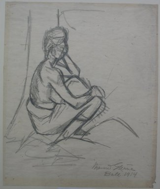 Maurice Sterne (American, born Latvia, 1877-1957). <em>Seated Figure - Bali</em>, 1914. Graphite on paper, Sheet: 20 7/16 x 16 15/16 in. (51.9 x 43 cm). Brooklyn Museum, Gift of Mr. and Mrs. Lewis M. Isaacs Jr., 67.88 (Photo: Brooklyn Museum, CUR.67.88.jpg)