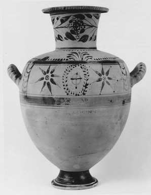 Greek. <em>Hydria</em>, 3rd century B.C.E. Clay, slip, 15 1/16 x Diam. 9 5/16 in. (38.3 x 23.6 cm). Brooklyn Museum, Charles Edwin Wilbour Fund, 68.149. Creative Commons-BY (Photo: Brooklyn Museum, CUR.68.149_NegA_print_bw.jpg)