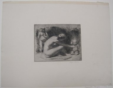 Kenneth Hayes Miller (American, 1876-1954). <em>Nude with Two Children</em>. Etching, Sheet: 11 x 14 3/16 in. (28 x 36 cm). Brooklyn Museum, Gift of Mrs. Edwin De T. Bechtel, 68.192.40 (Photo: Brooklyn Museum, CUR.68.192.40.jpg)