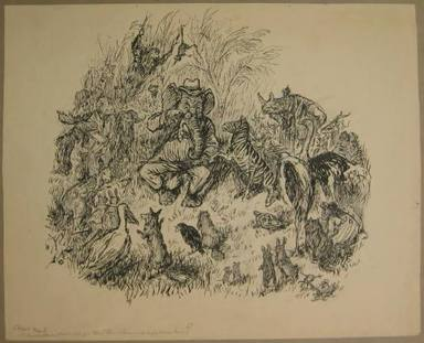 "Reginald Birch (American, born London, England, 1856-1943). <em>Chapter I ""The Animal Village"" by Charles E. Lord But Where Can We Go That the Lions Won't Follow Us?</em>, 1940. Black ink with touches of white correction fluid on heavy wove paper, Sheet: 16 1/8 x 20 in. (41 x 50.8 cm). Brooklyn Museum, Gift of William G. Lord, 68.225.1 (Photo: Brooklyn Museum, CUR.68.225.1.jpg)"