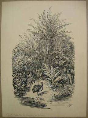 """Reginald Birch (American, born London, England, 1856-1943). <em>Chapter V """"The Animal Village,"""" """"How the Red Fox Lost His Dinner,""""</em> 1940. Black ink with touches of white correction fluid on heavy wove paper, Sheet: 20 11/16 x 15 3/16 in. (52.5 x 38.6 cm). Brooklyn Museum, Gift of William G. Lord, 68.225.10 (Photo: Brooklyn Museum, CUR.68.225.10.jpg)"""