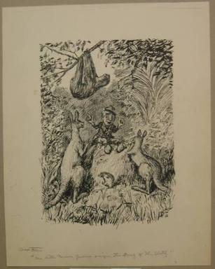 "Reginald Birch (American, born London, England, 1856-1943). <em>Chapter XIII ""The Animal Village,"" ""The Little Brown Gnome Singing the Song of Sloth,""</em> 1940. Black ink with touches of white correction fluid on heavy wove paper, Sheet: 17 5/16 x 13 3/4 in. (44 x 34.9 cm). Brooklyn Museum, Gift of William G. Lord, 68.225.19 (Photo: Brooklyn Museum, CUR.68.225.19.jpg)"