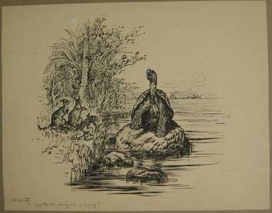 "Reginald Birch (American, born London, England, 1856-1943). <em>Chapter I ""The Animal Village"" by Charles E. Lord ""A Turtle Singing a Song,""</em> 1940. Black ink with touches of white correction fluid on heavy wove paper, Sheet: 12 1/2 x 16 in. (31.8 x 40.6 cm). Brooklyn Museum, Gift of William G. Lord, 68.225.5 (Photo: Brooklyn Museum, CUR.68.225.5.jpg)"