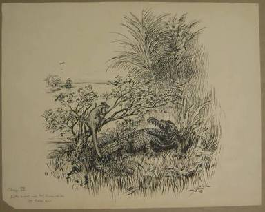 "Reginald Birch (American, born London, England, 1856-1943). <em>Chapter IV ""The Animal Village,"" ""Little Wiste Asked Mr. Crocodile to Help Him,""</em> 1940. Black ink with touches of white correction fluid on heavy wove paper, Sheet: 14 3/16 x 17 15/16 in. (36 x 45.6 cm). Brooklyn Museum, Gift of William G. Lord, 68.225.8 (Photo: Brooklyn Museum, CUR.68.225.8.jpg)"