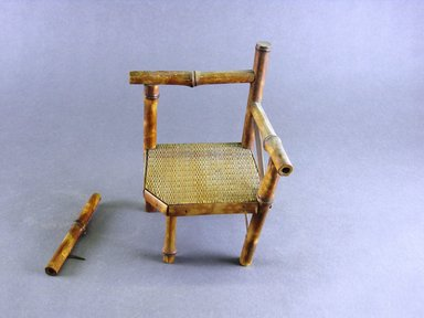 <em>Miniature Chair?</em>. Bamboo, cane, wood and metal, 6 3/4 x 4 1/2 x 4 1/2 in. (17.1 x 11.4 x 11.4 cm). Brooklyn Museum, Gift of Herbert W. Hemphill, 68.47.2. Creative Commons-BY (Photo: Brooklyn Museum, CUR.68.47.2_view1.jpg)
