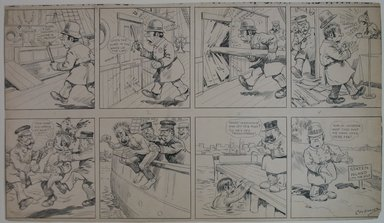 Charles W. Kahles (American, 1878-1931). <em>Clarence the Cop - Transferred to Staten Island</em>, n.d. Ink over graphite on paper, Sheet: 12 x 20 13/16 in. (30.5 x 52.9 cm). Brooklyn Museum, Gift of Mrs. C. Herbert Straut, 68.61.3. © artist or artist's estate (Photo: Brooklyn Museum, CUR.68.61.3.jpg)