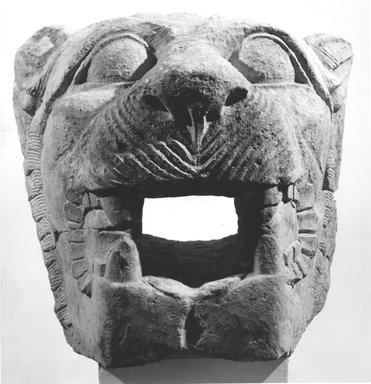 <em>Large Gargoyle (Head of a Lion)</em>, 664 B.C.E.-395 C.E. Limestone, 13 3/8 x 13 3/8 x 16 1/8 in. (34 x 33.9 x 41 cm). Brooklyn Museum, Charles Edwin Wilbour Fund, 68.82a-b. Creative Commons-BY (Photo: Brooklyn Museum, CUR.68.82_negA_bw.jpg)