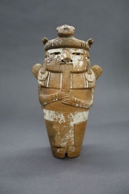 Late Chavin. <em>Figurine of a Priest Holding San Pedro Cactus</em>, 500 to 200 B.C.E. Ceramic, pigment, 8 x 4 1/2 x 3 1/2 in. (20.3 x 11.4 x 8.9 cm). Brooklyn Museum, Gift of The Roebling Society, 68.97. Creative Commons-BY (Photo: , CUR.68.97.jpg)