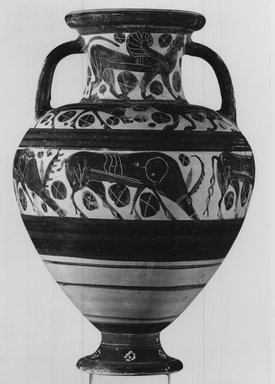 Attributed to Wolfshead Painter. <em>Italo-Corinthian Amphora</em>, 6th century B.C.E. Clay, slip, Height: (35.6 cm). Brooklyn Museum, Gift of Christos G. Bastis, 69.111. Creative Commons-BY (Photo: Brooklyn Museum, CUR.69.111_NegA_print_bw.jpg)