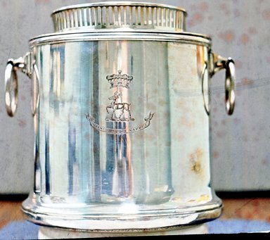 <em>Wine Cooler in Three Sections: Detachable Galleried Rim, Inner Bucket and Outer Bucket</em>, ca. 1920. Silver plate over copper, wooden base, 7 1/4 x 6 1/2 in. (18.4 x 16.5 cm). Brooklyn Museum, Gift of Federated Garden Clubs of New York State, Inc., 69.46.2a-c. Creative Commons-BY (Photo: Brooklyn Museum, CUR.69.46.2a-c.jpg)