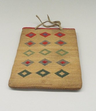 Nez Perce. <em>Twined Bag</em>, early 20th century. Wool, hide, corn husk, 8 11/16 x 7 7/8in. (22 x 20cm). Brooklyn Museum, Gift of Mr. and Mrs. Francis T. Christy, 69.55.7. Creative Commons-BY (Photo: Brooklyn Museum, CUR.69.55.7_view1.jpg)