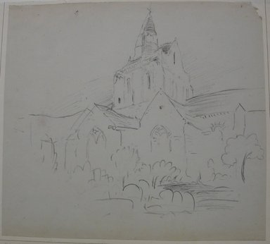 Stanford White (American, 1853-1906). <em>Church in Central France</em>, n.d. Charcoal on paper mounted to paper, Sheet: 11 5/8 x 12 15/16 in. (29.5 x 32.9 cm). Brooklyn Museum, Gift of the Henfield Foundation, 70.110 (Photo: Brooklyn Museum, CUR.70.110.jpg)
