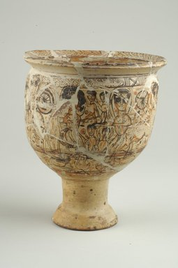 Coptic. <em>Decorated Vessel with Pedestal Base</em>, 5th-6th century C.E. Clay, slip, 8 15/16 × Diam. 7 5/16 in. (22.7 × 18.5 cm). Brooklyn Museum, Charles Edwin Wilbour Fund, 70.134.1. Creative Commons-BY (Photo: Brooklyn Museum (in collaboration with Index of Christian Art, Princeton University), CUR.70.134.1_view1_ICA.jpg)