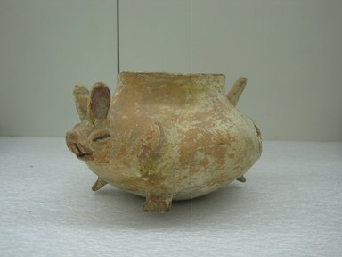 Huastec. <em>Rabbit Effigy Jar</em>, ca. 1250-1520. Ceramic, pigment, 4 1/2 x 8 3/8 in. (11.4 x 21.3 cm). Brooklyn Museum, Gift of Mr. and Mrs. Cedric H. Marks, 70.154.12. Creative Commons-BY (Photo: Brooklyn Museum, CUR.70.154.12_view1.jpg)
