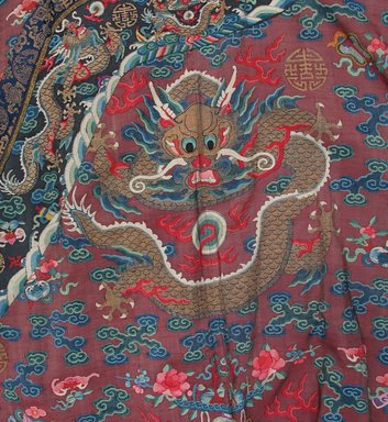 <em>Dragon Robe</em>, 1875-1908. Tapestry, Metallic thread, 82 5/16 x 56 5/16 in. (209 x 143 cm). Brooklyn Museum, Anonymous gift, 70.158.2. Creative Commons-BY (Photo: Brooklyn Museum, CUR.70.158.2_detail1.jpg)