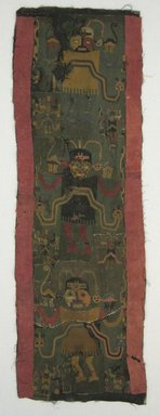 Paracas Necropolis. <em>Textile Fragments, Unascertainable or Mantle, Border, Fragment</em>, 200-600 C.E. Cotton, camelid fiber, 22 13/16 x 5 1/2 in. (58 x 14 cm). Brooklyn Museum, Gift of Ernest Erickson, 70.177.1. Creative Commons-BY (Photo: Brooklyn Museum, CUR.70.177.1.jpg)