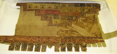 Probably Chimú. <em>Poncho</em>, ca. 1550. Cotton, wool, and camelid fibers, 46 7/16 x 47 1/4 in. (118 x 120 cm). Brooklyn Museum, Gift of Ernest Erickson, 70.177.36. Creative Commons-BY (Photo: Brooklyn Museum, CUR.70.177.36.jpg)