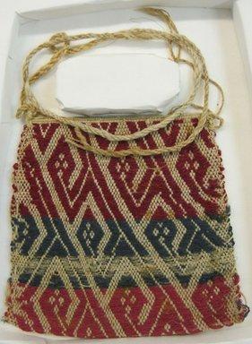 Coastal Wari (attrib by Nobuko Kajatani, 1993). <em>Bag</em>, 600-1400. Cotton, camelid fiber, 5 5/16 x 5 5/16 in. (13.5 x 13.5 cm). Brooklyn Museum, Gift of Ernest Erickson, 70.177.49. Creative Commons-BY (Photo: Brooklyn Museum, CUR.70.177.49.jpg)