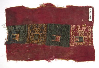 Coastal Wari (attrib by Nobuko Kajatani, 1993). <em>Mantle, Fragment</em>, 600-1000 C.E. Cotton, camelid fiber, 7 5/16 × 11 3/8 in. (18.6 × 28.9 cm). Brooklyn Museum, Gift of Ernest Erickson, 70.177.53. Creative Commons-BY (Photo: Brooklyn Museum, CUR.70.177.53.jpg)