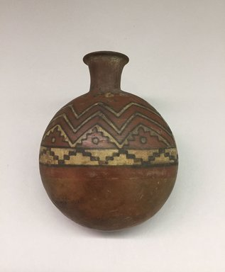 Wari. <em>Ceramic Bottle</em>, 600-1000. Ceramic, pigment, 6 × 4 7/8 × 2 3/4 in. (15.2 × 12.4 × 7 cm). Brooklyn Museum, Gift of Ernest Erickson, 70.177.67. Creative Commons-BY (Photo: , CUR.70.177.67_view01.jpg)