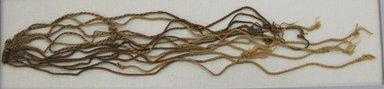 Inca (attrib by Nobuko Kajatani and Anne Rowe, 1993). <em>Khipu Fragment</em>, 1400-1532. Cotton, 15 1/2 × 2 1/2 × 1/8 in. (39.4 × 6.4 × 0.3 cm). Brooklyn Museum, Gift of Ernest Erickson, 70.177.70. Creative Commons-BY (Photo: Brooklyn Museum, CUR.70.177.70.jpg)