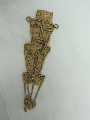 Muisca (Chibcha). <em>Standing Human Figure</em>, 1200. Gold, 4 1/4 x 1 5/16 x 3/16 in. (10.8 x 3.3 x 0.5 cm). Brooklyn Museum, Gift of Dr. Werner Muensterberger, 70.186. Creative Commons-BY (Photo: Brooklyn Museum, CUR.70.186.jpg)