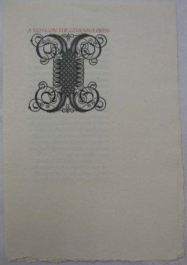 Leonard Baskin (American, 1922-2000). <em>Ephemera, A Note on the Gehenna Press</em>, mid-20th century. Print, Sheet: 8 1/4 x 5 11/16 in. (21 x 14.5 cm). Brooklyn Museum, Gift of Leonard Baskin, 70.33.13. © artist or artist's estate (Photo: Brooklyn Museum, CUR.70.33.13.jpg)