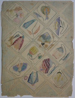 Marguerite Thompson Zorach (American, 1887-1968). <em>(Floral Designs in Squares)</em>, 20th century. Watercolor and graphite on tracing paper, Sheet: 14 1/2 x 10 7/8 in. (36.8 x 27.6 cm). Brooklyn Museum, Gift of Mr. and Mrs. Tessim Zorach, 70.35.1. © artist or artist's estate (Photo: Brooklyn Museum, CUR.70.35.1.jpg)