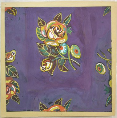 Marguerite Thompson Zorach (American, 1887-1968). <em>(Flowers on purple background - many colored)</em>, 20th century. Watercolor on paper mounted to backing paper, Sheet (watercolor): 9 9/16 x 9 11/16 in. (24.3 x 24.6 cm). Brooklyn Museum, Gift of Mr. and Mrs. Tessim Zorach, 70.35.2. © artist or artist's estate (Photo: Brooklyn Museum, CUR.70.35.2.jpg)