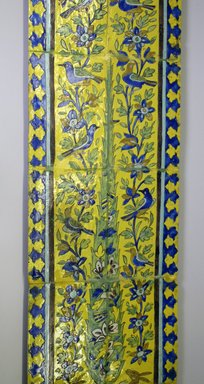 <em>Panel of Tiles</em>, 18th century. Polychrome, mounted on wood, 45 9/16 x 13 in. (115.7 x 33 cm). Brooklyn Museum, Gift of Mr. and Mrs. Charles K. Wilkinson, 70.62.1. Creative Commons-BY (Photo: Brooklyn Museum, CUR.70.62.1_view2.jpg)