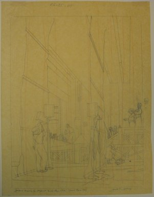Gerald K. Geerlings (American, 1897-1998). <em>Back Stage 8 P.M.</em>, 1932. Graphite and red pencil on tissue paper, Sheet: 12 7/8 x 10 in. (32.7 x 25.4 cm). Brooklyn Museum, Gift in memory of Clarence John Marsman, 70.75.23 (Photo: Brooklyn Museum, CUR.70.75.23.jpg)