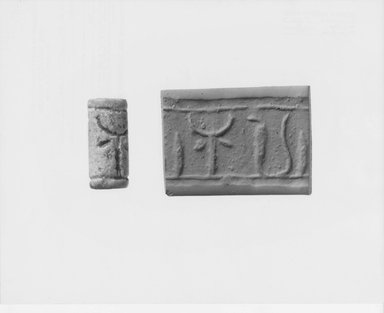 Ancient Near Eastern. <em>Cylinder Seal</em>, 8th century B.C.E. Stone, glazed, 15/16 x Diam. 7/16 in. (2.4 x 1.1 cm). Brooklyn Museum, Twentieth-Century Fox Fund, 71.115.10. Creative Commons-BY (Photo: Brooklyn Museum, CUR.71.115.10_NegA_print_bw.jpg)