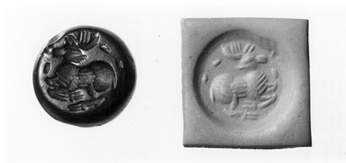 Ancient Near Eastern. <em>Stamp Seal: Recumbent Stag</em>, 5th century C.E. Jasper, 3/8 x 1/2 in. (1 x 1.2 cm). Brooklyn Museum, Twentieth-Century Fox Fund, 71.115.15. Creative Commons-BY (Photo: Brooklyn Museum, CUR.71.115.15_negA_bw.jpg)