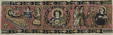 Coptic. <em>Band Fragment with Figural, Animal, and Botanical Decoration</em>, 7th-8th century C.E. Flax, wool, 3 1/2 x 10 7/8 in. (8.9 x 27.6 cm). Brooklyn Museum, Charles Edwin Wilbour Fund, 71.140. Creative Commons-BY (Photo: Brooklyn Museum (in collaboration with Index of Christian Art, Princeton University), CUR.71.140_ICA.jpg)