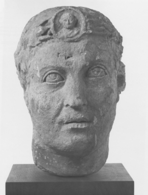 Syrian. <em>Head of a Priest</em>, 2nd century C.E. Limestone, 12 5/8 x 8 1/4 x 11 in. (32 x 21 x 28 cm). Brooklyn Museum, Gift of Mr. and Mrs. Carl L. Selden, 71.36. Creative Commons-BY (Photo: Brooklyn Museum, CUR.71.36_NegA_print_bw.jpg)
