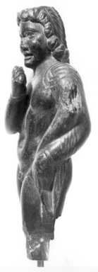 <em>Figure of Harpocrates</em>. Steatite, 1 3/8 × 3/8 × 2 3/16 in. (3.5 × 1 × 5.5 cm). Brooklyn Museum, Charles Edwin Wilbour Fund, 71.41. Creative Commons-BY (Photo: Brooklyn Museum, CUR.71.41_NegB_print_bw.jpg)