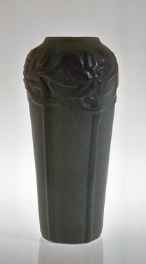 Van Briggle Pottery Company. <em>Vase, Art Pottery</em>, ca. 1910. Pottery, glaze, 11 1/2 x 5 1/2 in. (29.2 x 14 cm). Brooklyn Museum, Gift of Tina Solomon, 71.46.1. Creative Commons-BY (Photo: Brooklyn Museum, CUR.71.46.1.jpg)
