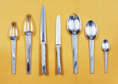 Jean Puiforcat. <em>Salad Fork</em>, 1928. Silver, ebony, L: 6 7/8 in. (17.5 cm). Brooklyn Museum, Restricted Income Fund, 71.47f. Creative Commons-BY (Photo: , CUR.71.47a-g.jpg)