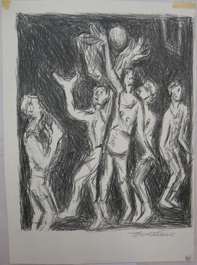 Theresa F. Bernstein (American, 1890-2002). <em>Basketball Players</em>, mid-20th century. Lithograph, Sheet: 12 1/16 x 8 13/16 in. (30.6 x 22.4 cm). Brooklyn Museum, Gift of the Society of American Graphic Artists in memory of John von Wicht, 71.60.8. © artist or artist's estate (Photo: Brooklyn Museum, CUR.71.60.8.jpg)