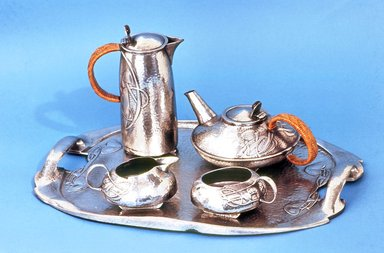 Archibald Knox (English, 1864-1933). <em>Tea Service: Tray</em>, ca. 1903. Hammered pewter, tray: 1 5/8 x 20 x 14 1/8 in. (4.1 x 50.8 x 35.9 cm). Brooklyn Museum, Alfred T. and Caroline S. Zoebisch Fund, 71.71a. Creative Commons-BY (Photo: , CUR.71.71a-e.jpg)