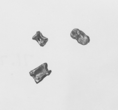 <em>Dice or Bones</em>, late 4th century B.C.E. Gold, 3/16 x 3/16 x 1/4 in. (0.6 x 0.4 x 0.6 cm). Brooklyn Museum, Gift of Mr. and Mrs. Thomas S. Brush, 71.79.24. Creative Commons-BY (Photo: , CUR.71.79.24_71.79.25_71.79.26_NegA_print_bw.jpg)
