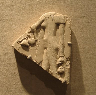 <em>Female Offering Bearer</em>, 4th century B.C.E. Limestone, 5 7/16 × 4 7/16 × 7/8 in. (13.8 × 11.2 × 2.3 cm). Brooklyn Museum, Charles Edwin Wilbour Fund, 72.12. Creative Commons-BY (Photo: Brooklyn Museum, CUR.72.12_wwg8.jpg)